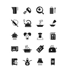 cooking and kitchen equipment black silhouette vector image vector image