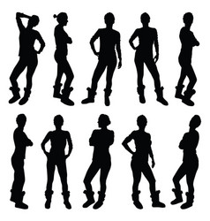 girl figure silhouette in various poses in black vector image vector image