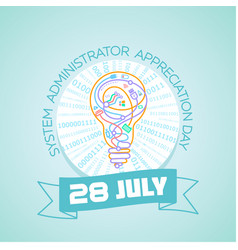 28 july system administrator day vector image vector image