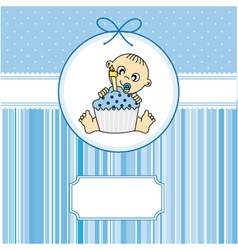 baby boy with a cake vector image vector image