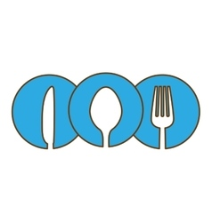 Blue cutlery icon image design vector