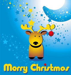 Christmas card with funny deer and moon vector image vector image