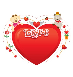 Couple Cat and Dog with Heart Shape vector image vector image