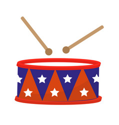 drum icon flat style 4th july concept isolated vector image