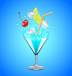 Ice cubes and fruits falling into blue lagoon vector