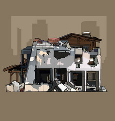 Painted ruins of brick whitewashed building vector