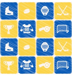 Seamless background with hockey icons vector image