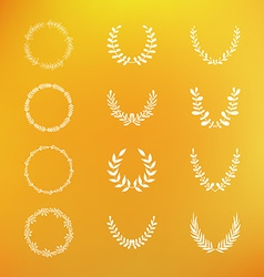 Set of hand drawn laurel and floral wreaths vector image