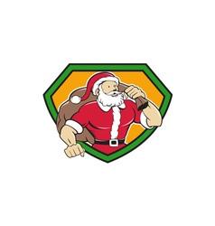 Super Santa Claus Carrying Sack Shield Cartoon vector image vector image