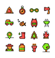 thin line camping icons set vector image vector image