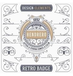 Vintage Ornament and Retro Badge Design Elements vector image vector image
