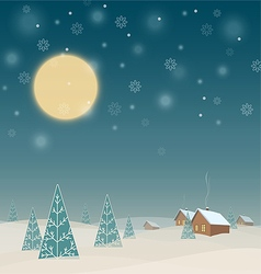 Winter night landscape with houses and trees vector image vector image