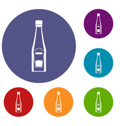 bottle of ketchup icons set vector image
