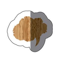 sticker realistc wooden texture cloud dialog vector image