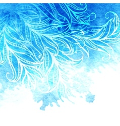 watercolor background feathers and leaves vector image