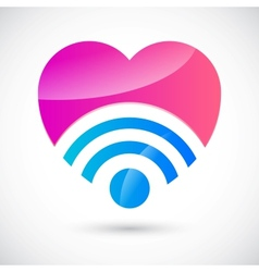 Wi-fi symbol with heart vector image vector image