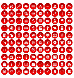 100 criminal offence icons set red vector image