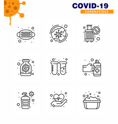 9 line coronavirus disease and prevention icon vector image