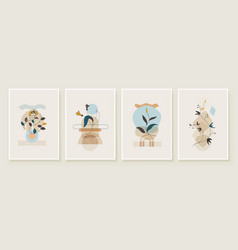 Abstract botanical organic art set vector
