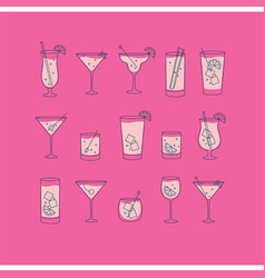 Alcohol drinks and cocktails icon flat set rose vector