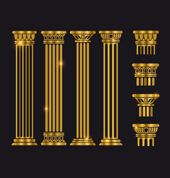 Ancient rome architecture column set vector