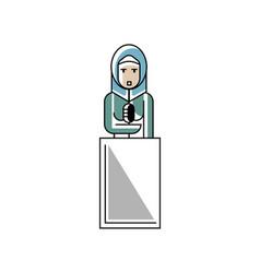 arabic businesswoman speech on tribune vector image