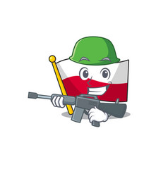 Army mascot cartoon shaped in poland flag vector