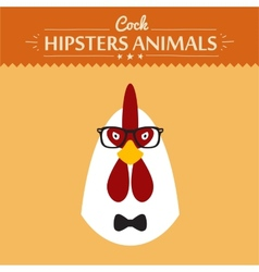 Ashion Portrait of Hipster Cock with glasses and vector