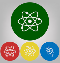 atom sign 4 white styles of vector image