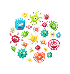 Bacteria banner template with cute colorful vector
