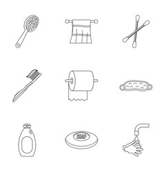 Bathroom accessories icons set outline style vector