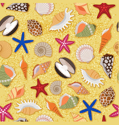 Beach sand background with sea shells vector