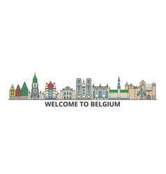 Belgium outline skyline belgian flat thin line vector
