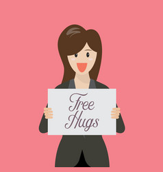 Business woman showing free hug sign vector