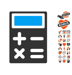 Calculator icon with lovely bonus vector