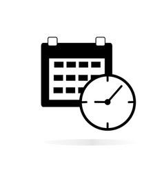 calendar clock icon on white background calendar vector image