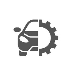 Car repair gear outline icon in flat style vector