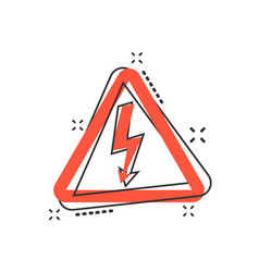 cartoon high voltage danger icon in comic style vector image