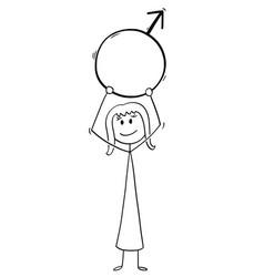 cartoon woman holding male sex symbol vector image