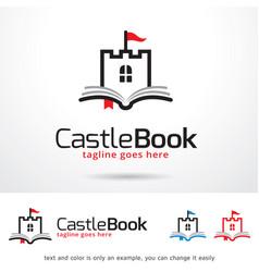 Castle book logo template vector