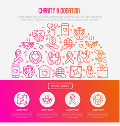 charity and donation concept with thin line icons vector image