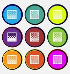 Checkers board icon sign Nine multi colored round vector