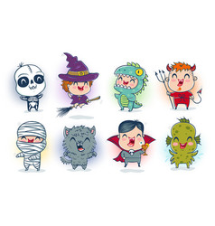 Children with costumes for halloween vector
