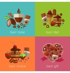 Chocolate is the best diet banners vector
