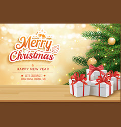 Christmas greeting card with gifts boxes on vector
