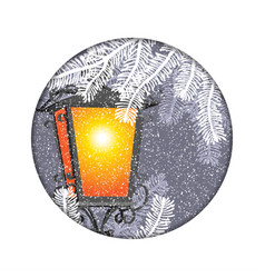 christmas lantern with snowfall in the night vector image