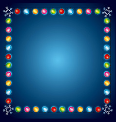 Christmas lights luminous garland snowflake border vector