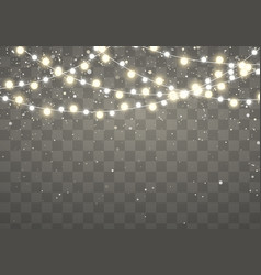 Christmas lights with glittering falling vector