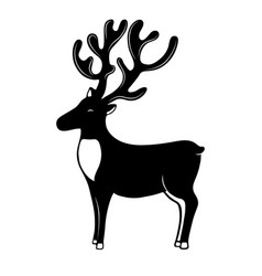 Christmassy reindeer with horns silhouette deer vector