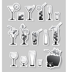 Cocktails and glasses with alcohol on stickers vector image